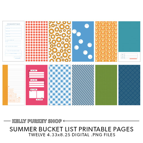 Summer Bucket List Printable Pages