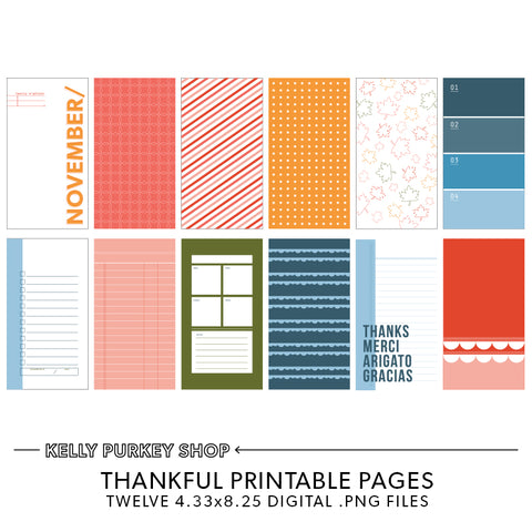 Thankful Travelers Notebook Printable Pages