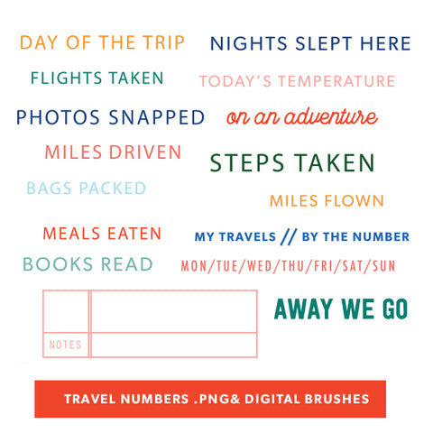 Travel Numbers Digital Files