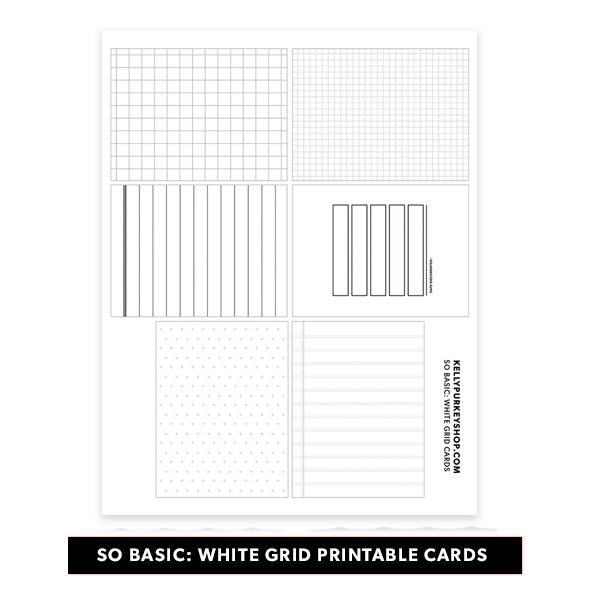 So Basic: White Grid Printable Cards