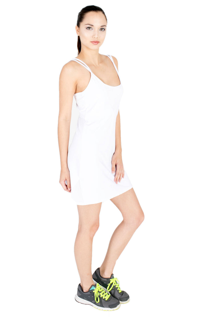 Power Mesh Dress in White