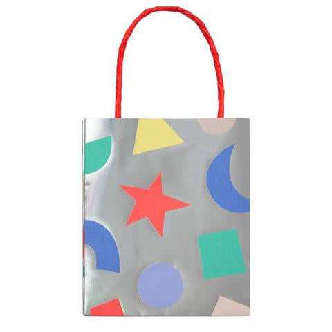 Silver geometric party bags- Meri Meri