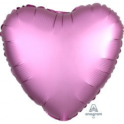 Satin luxe heart - flamingo pink