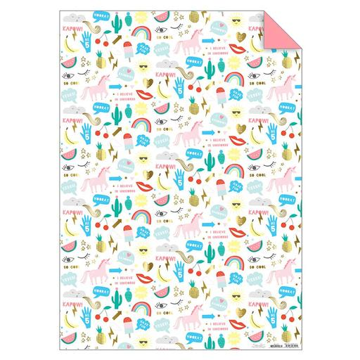 unicorn and rainbow wrapping paper