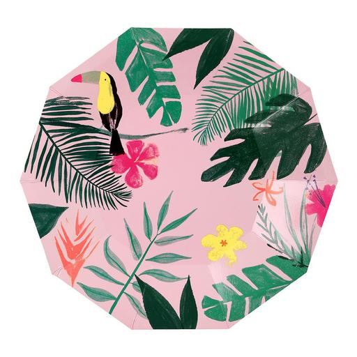 Pink Large tropical plate - Meri Meri