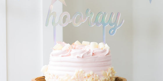 Hooray holographic cake topper