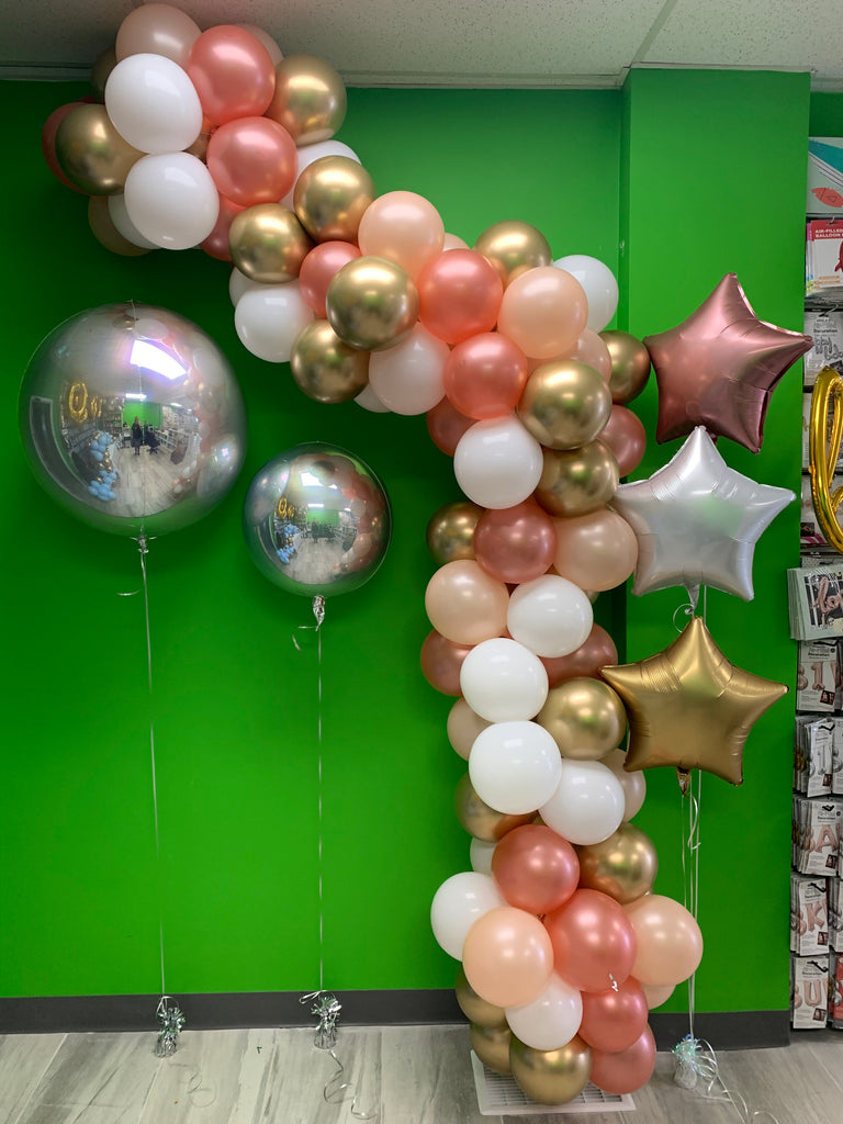 Rose gold & chrome gold balloon garland - ready for you to hang