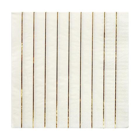 Gold striped large napkins - Meri Meri