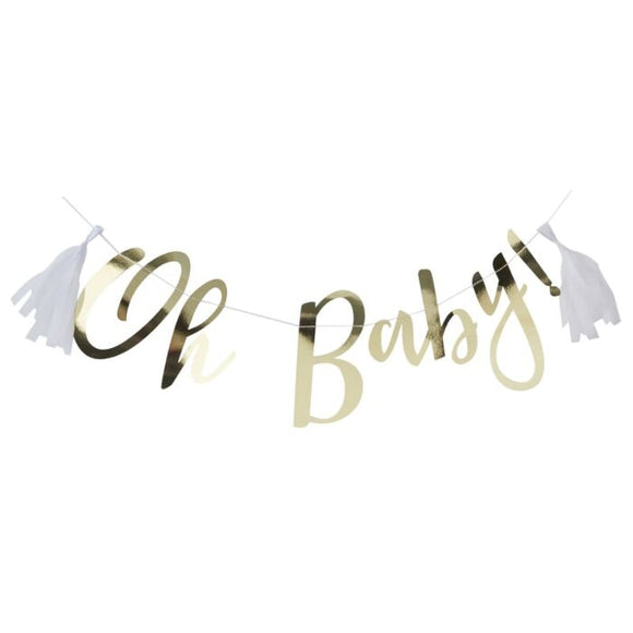 Gold Oh Baby banner with tassels