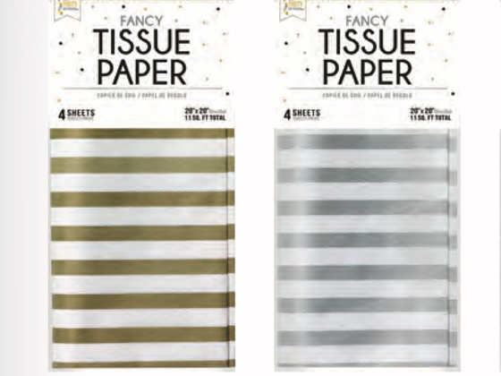 Tissue paper - gold or silver striped