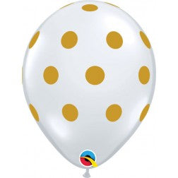 "11"" balloon- diamond clear gold polka dot"