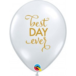 "11"" balloon - Best day ever - diamond clear"