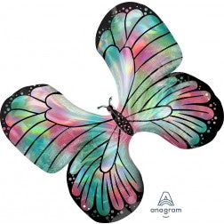Holographic teal and pink iridescent butterfly