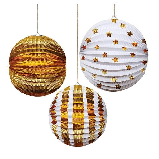 Gold foil globe decorations - Meri Meri