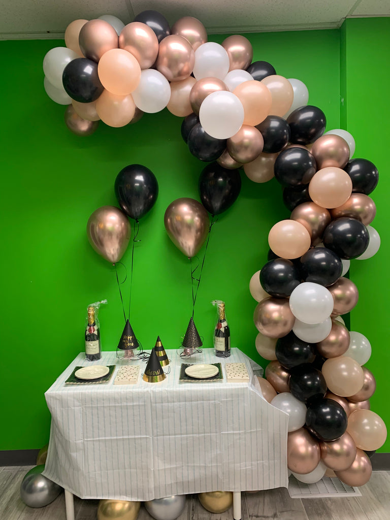 Black and chrome rose gold balloon garland - ready for you to hang