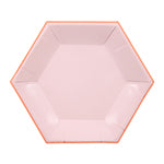pastel pink hexagonal small plates