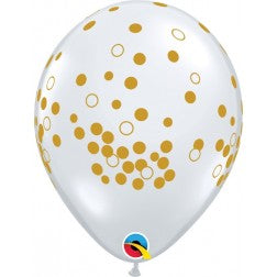 "11"" balloons - crystal clear with gold dots"