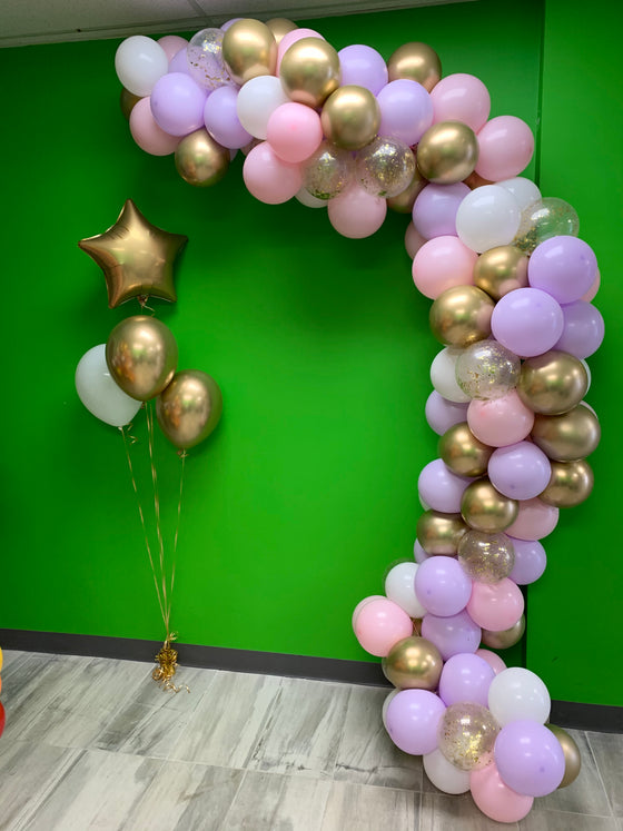 Pink, lilac, with golds balloon garland