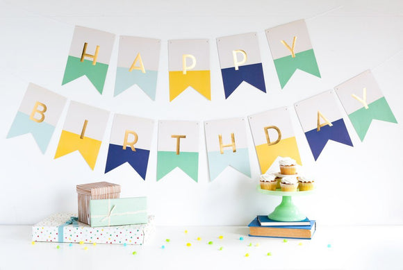 Hooray happy birthday banner - blues and greens