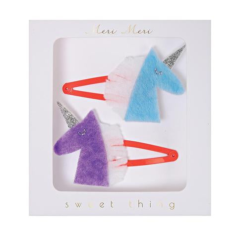 Unicorn felt hair clips