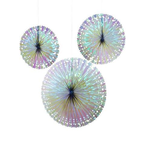 Pack of 3 iridescent fans - Talking tables
