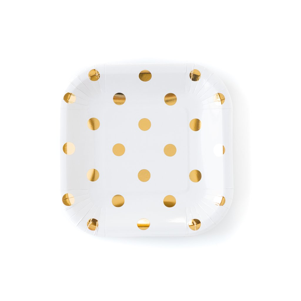 Cream with gold dot small plates