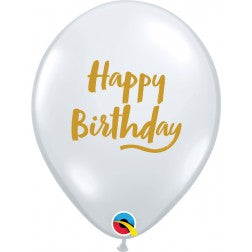 "11"" balloon - Diamond clear Happy birthday script"