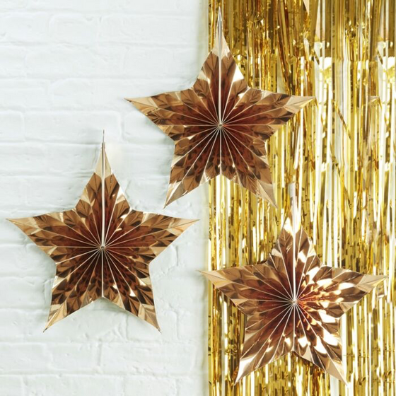Gold star shaped metallic hanging fan decorations