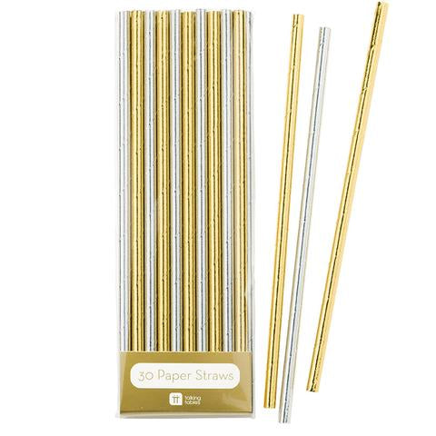 Gold and silver metallic straws