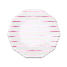 Frenchie striped large plates - Cerise