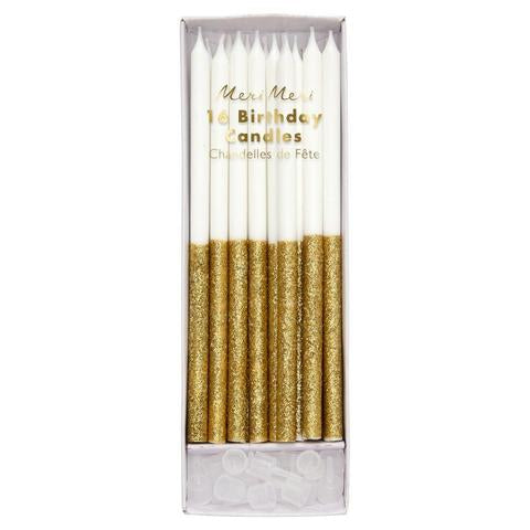 Gold glitter dipped candles - Meri Meri