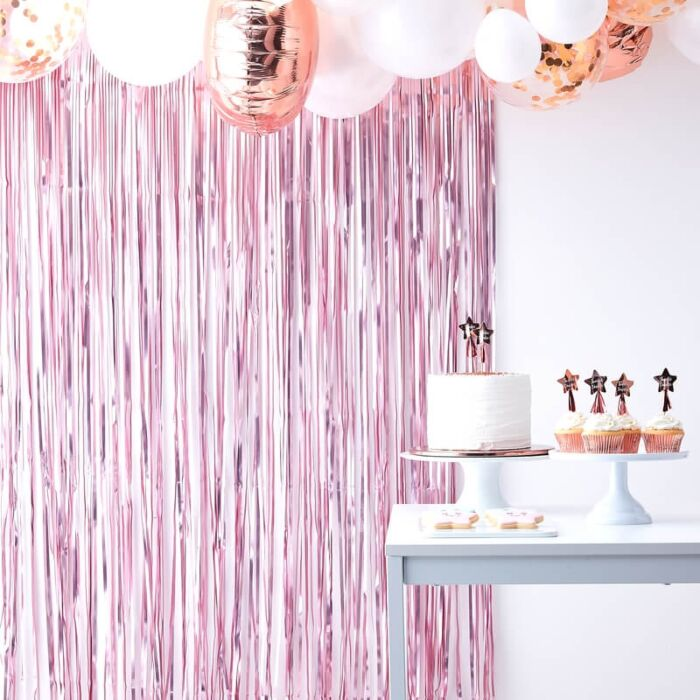 Matt pink fringe curtain