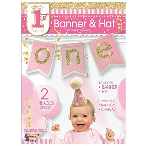 Age one hat and banner pink