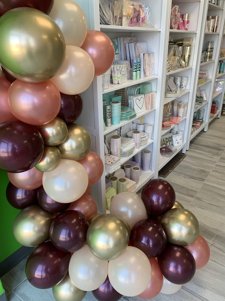 Burgundy and rose gold tones balloon garland