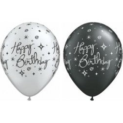 "11"" latex - Happy birthday sparkles and swirls"