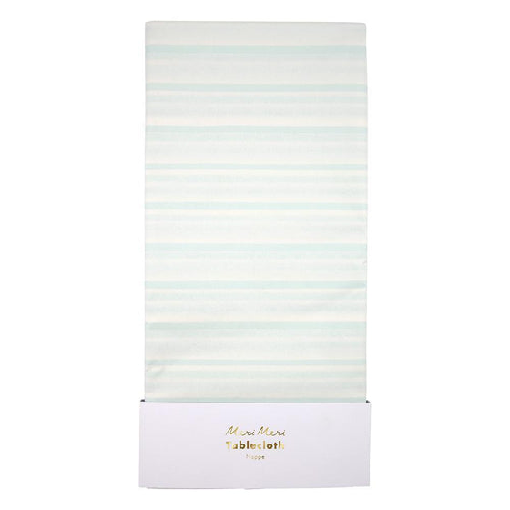 Mint stripe tablecloth - Meri Meri