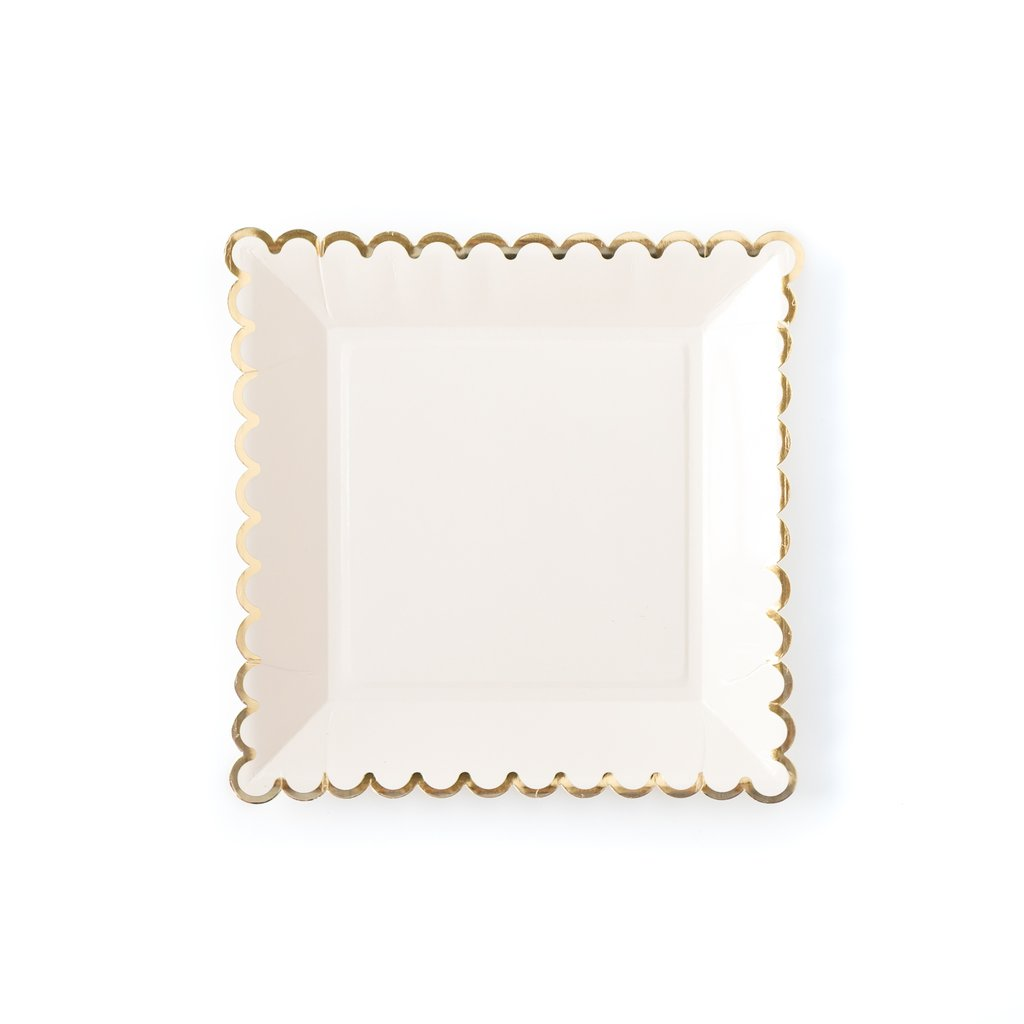 Cream with gold edge square plates