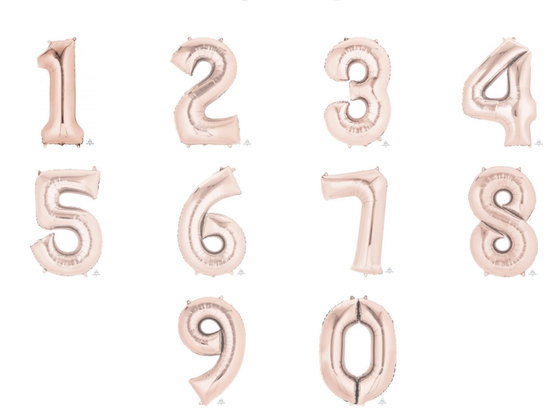 Rose gold giant numbers 0-9