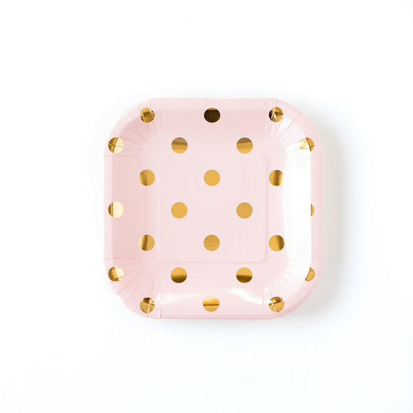 Blush with gold dot small plates