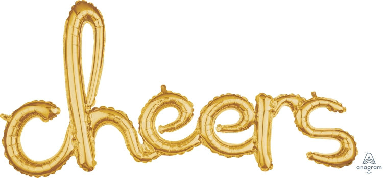 Air fill- cheers gold script balloon banner
