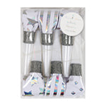 Silver party blowers