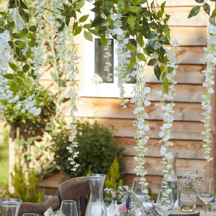 White artificial wisteria vines