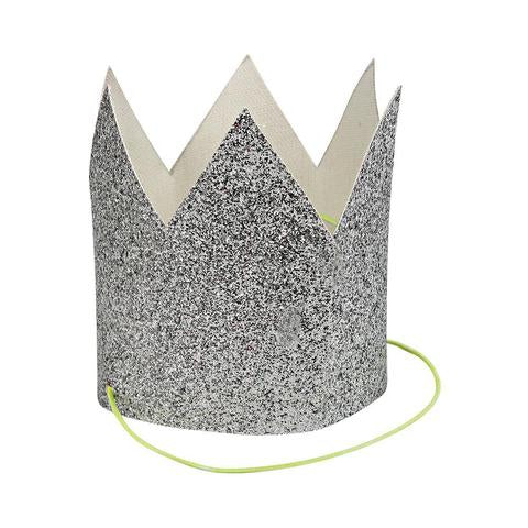 Mini silver glittered crowns - Meri Meri
