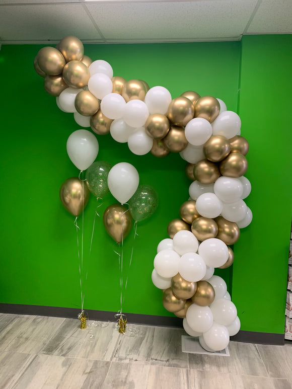 Gold and white balloon garland