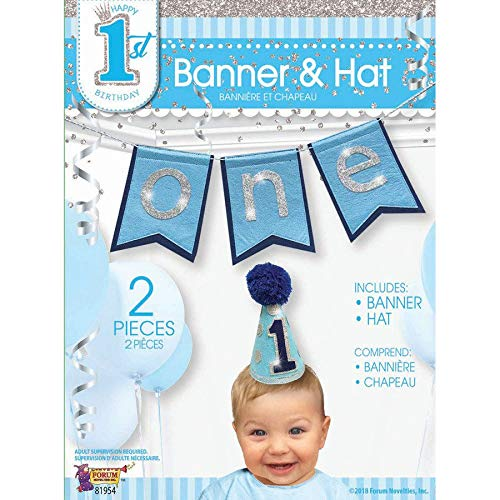 Age one hat and banner blue
