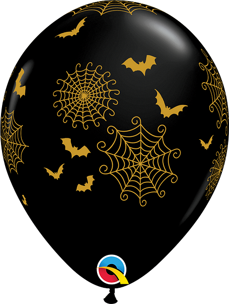 "11"" balloon - spiderwebs and bats"