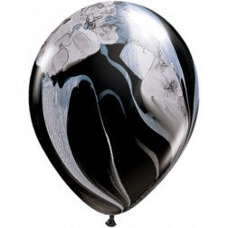 "11"" balloons - black and white marble"