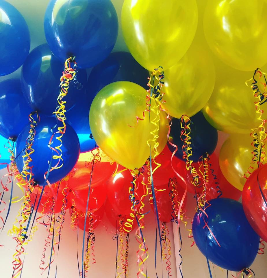 Yellow, blue and red balloon bouquet
