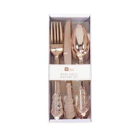 Rose gold disposable cutlery