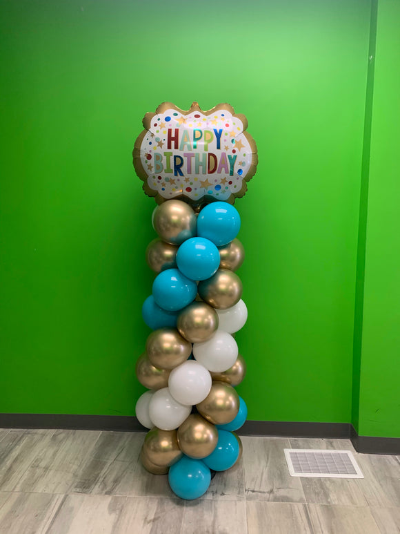 Happy birthday balloon pillar